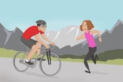 grafic illustration of biker and runner
