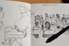 sketchbook sketch in the airport